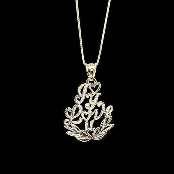 Leaf Valentine Pendant w. Box Chain .925 Sterling Silver
