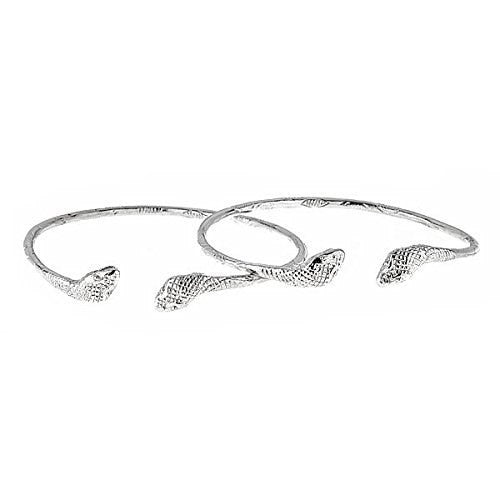 Cobra Ends .925 Sterling Silver West Indian Bangles (Pair) (Made in USA)