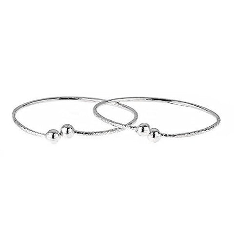 Ball Ends .925 Sterling Silver West Indian BABY Bangles (Pair) (Made in Usa)