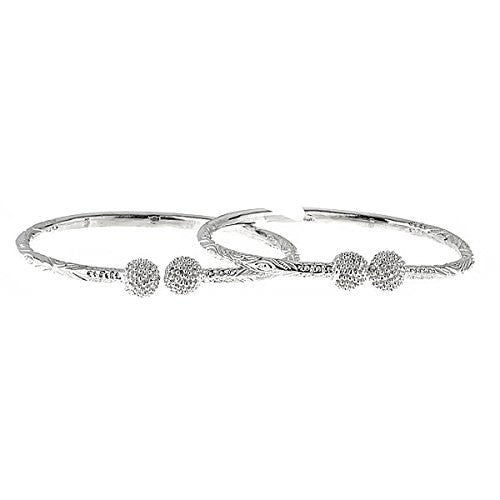 Disco Ball Ends .925 Sterling Silver West Indian Bangles 78 Grams (Pair) (MADE IN USA) (5 mm) - Betterjewelry