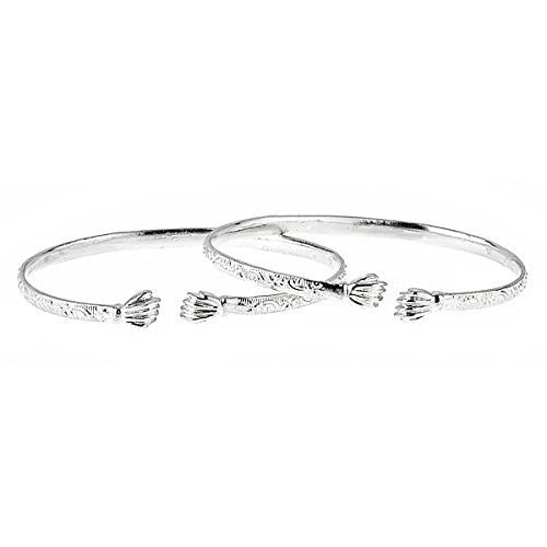 Fist Ends .925 Sterling Silver West Indian Flat Bangles 31 Grams (Pair) (MADE IN USA)
