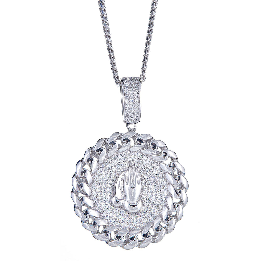 925 Sterling Silver Prayer Hands Micro-Pave with Circle Chain Detail Pendant and Miami Cuban Style Chain, 28 Grams