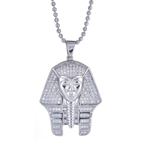 .925 Sterling Silver Pharaoh Head Micro Pave Pendant and Moon Cut Chain, 20 GRAMS