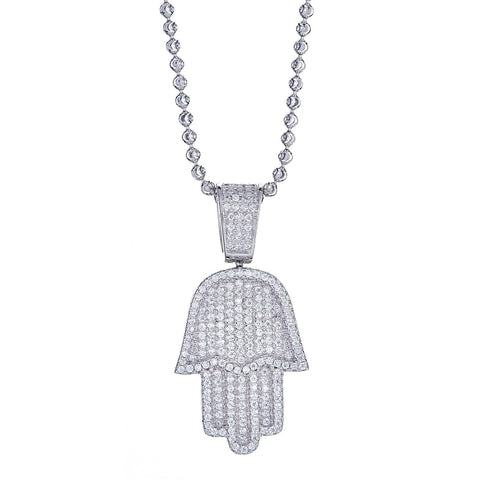 925 Sterling Silver Hamsa Hand Micro Pave Pendant and Moon Cut Chain, 15 grams - Betterjewelry