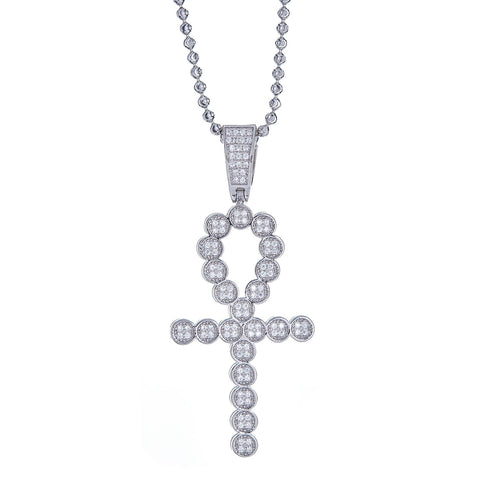 .925 Sterling Silver Ankh Cross Micro Pave Pendant and Moon Cut Chain, 13 Grams - Betterjewelry