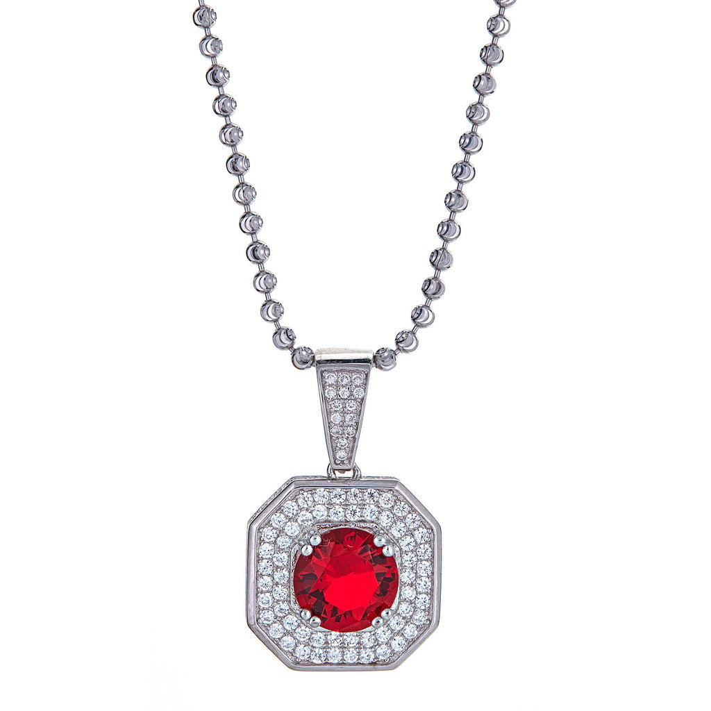 Red Magnificent Square Solitaire, 925 Sterling Silver, Micro-Pave Vintage Pendant and Moon Cut Ball Chain - 13 Grams
