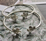 Flower .925 Sterling Silver West Indian Bangles (Pair) (Made in Usa) - Betterjewelry