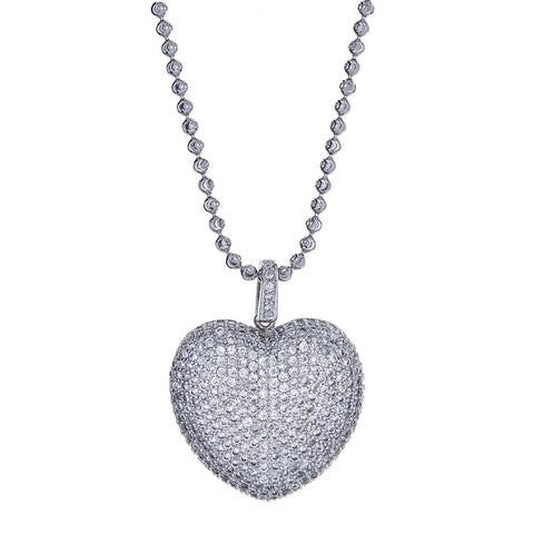 Stunning .925 Sterling Silver Heart Pendant + Moon Cut Chain Gift Set, 13 GRAMS