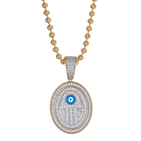 14K Gold Plated on .925 Sterling Silver Hamsa Hand and Evil Eye Micro Pave Pendant and Moon Cut Chain (16 GRAMS)