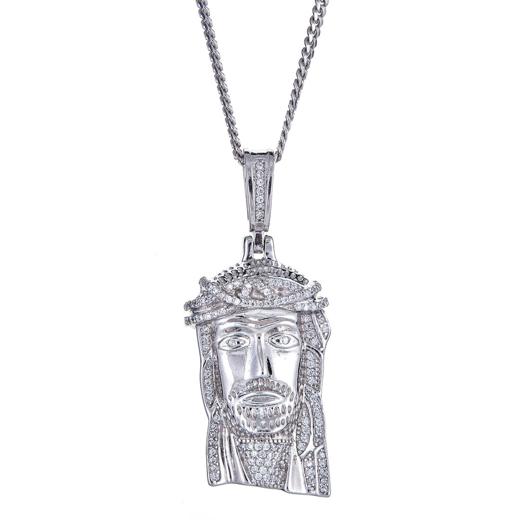 925 Sterling Silver Jesus Face / Head Micro Pave Charm Pendant and Miami Cuban Style Chain (18 grams)