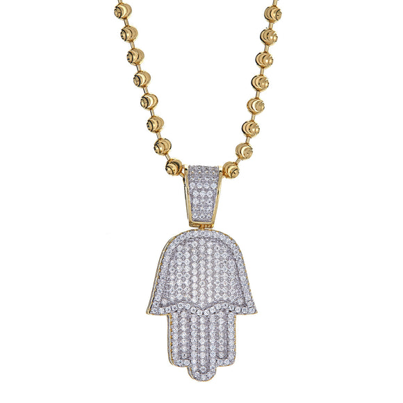 14K Gold Plated on .925 Sterling Hamsa Hand Micro Pave Pendant and Moon Cut Chain, 15 Grams - Betterjewelry