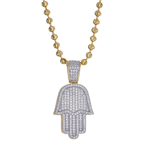 14K Gold Plated on .925 Sterling Hamsa Hand Micro Pave Pendant and Moon Cut Chain, 15 Grams