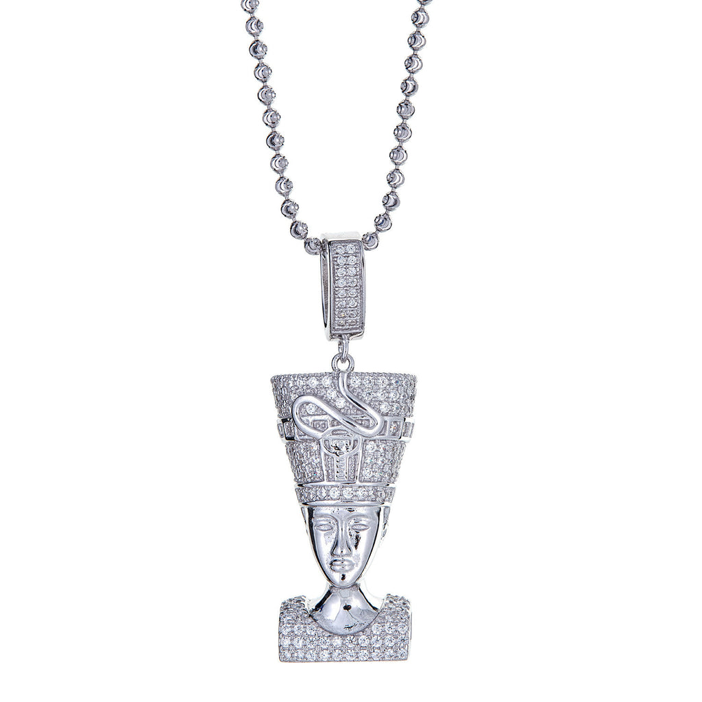 925 Sterling Silver Queen Nefertiti Micro Pave Pendant and Moon Cut Chain, 17 Grams