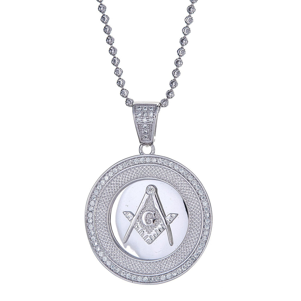 925 Sterling Silver Free Mason Micro Pave Circle Pendant and Moon Cut Chain, 19 GRAMS - Betterjewelry