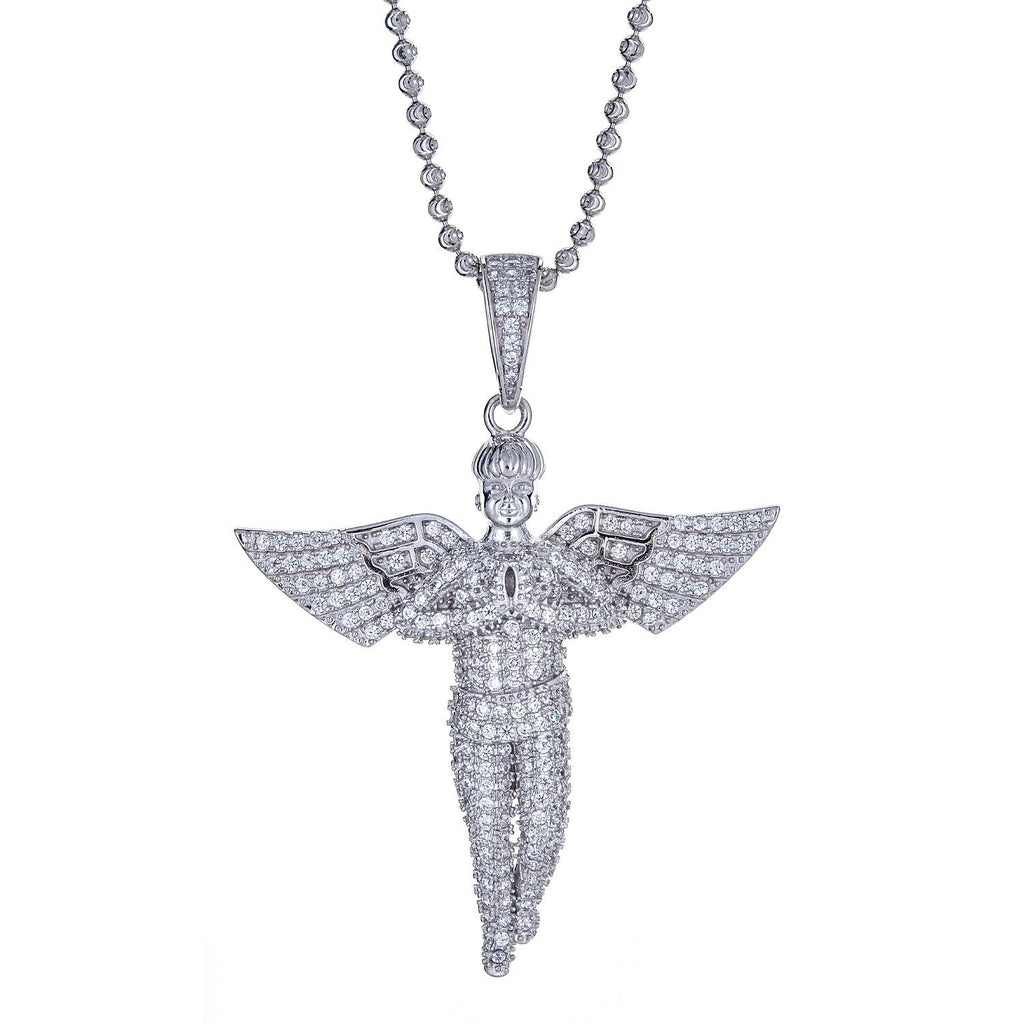 925 Sterling Silver Praying Angel Micro Pave Pendant and Moon Cut Chain, 18 grams - Betterjewelry