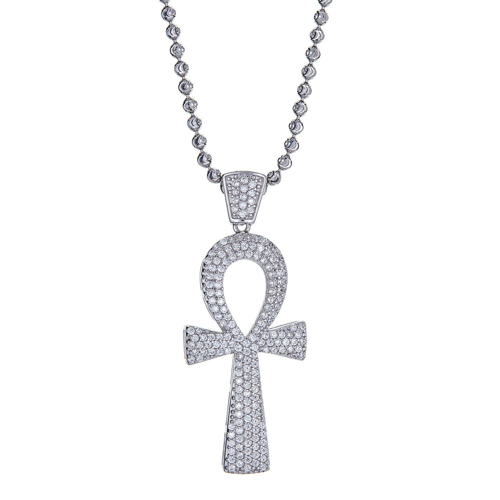 Delicate Ankh Cross Micro Pave,  (.925 Sterling Silver, with 14 Gold Plated option) Pendant and Moon Cut Chain, 9.8 GRAMS