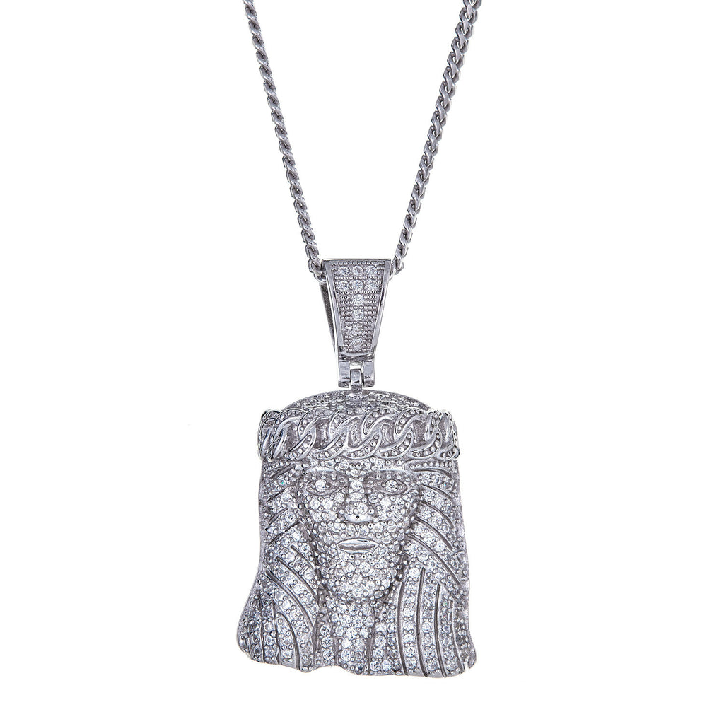 925 Sterling Silver Jesus Face / Head Fine Micro Pave Charm Pendant and Miami Cuban Style Chain