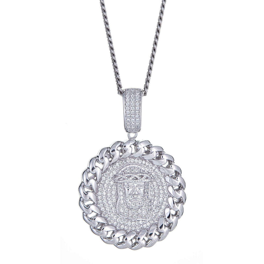 925 Sterling Silver Jesus Face/ Head Micro-Pave with Circle Chain Detail Pendant and Miami Cuban Style Chain, 28 Grams - Betterjewelry