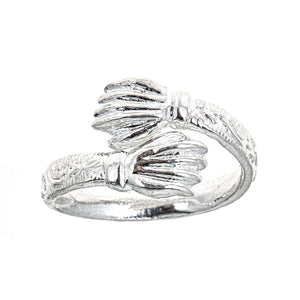 Flat Fist Ends .925 Sterling Silver West Indian Style Ring - Betterjewelry