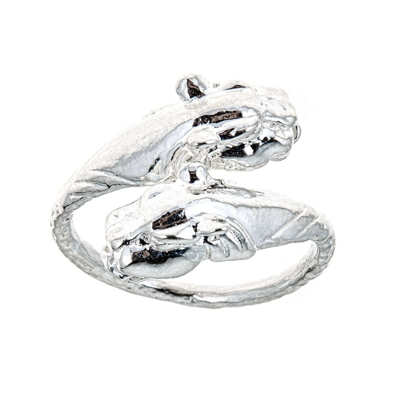 Panther Ends .925 Sterling Silver West Indian Style Ring - Betterjewelry