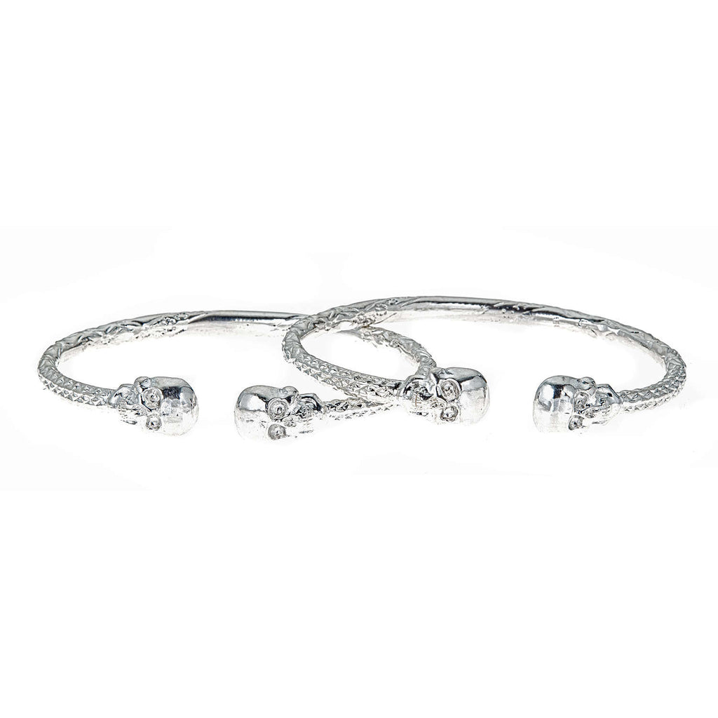 Thick Skull Ends .925 Sterling Silver West Indian Bangles (8 inches , 63 grams) (PAIR) (MADE in USA)