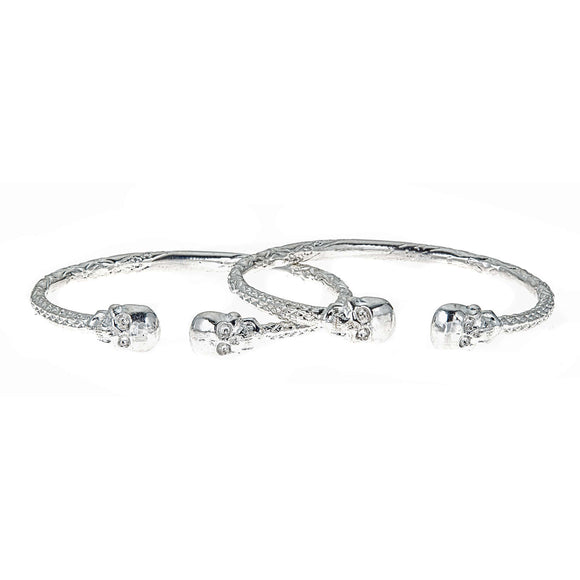 Thick Skull Ends .925 Sterling Silver West Indian Bangles (8 inches , 63 grams) (PAIR) (MADE in USA) - Betterjewelry