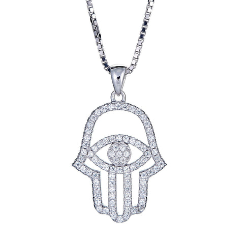 925 Sterling Silver Hamsa Hand and Evil Eye with Chain (7.5 gram)