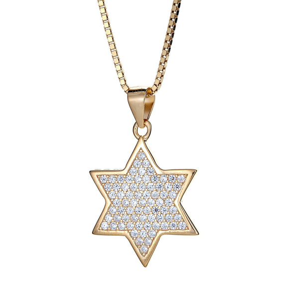 14K Gold Plated on .925 Sterling Silver Star of David Micro Pave Pendant with Chain ( 5.5 grams) - Betterjewelry