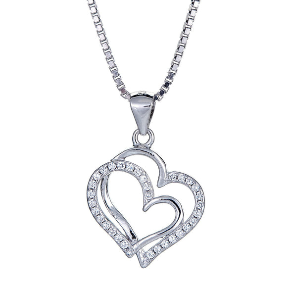 925 Sterling Silver Open Double Hearts Micro Pave Pendant with Chain (5.5 grams) - Betterjewelry