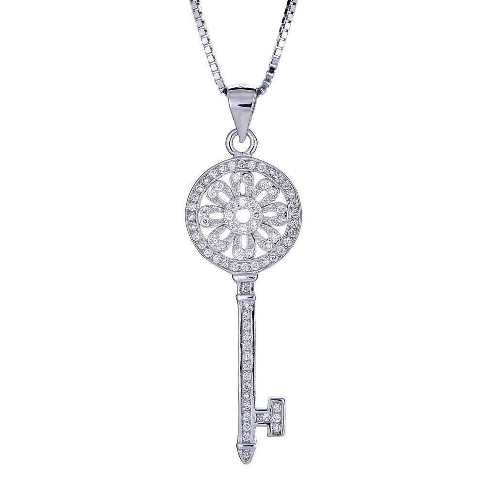 925 Sterling Silver Dainty Flower Key Micro Pave Pendant with Chain (6 grams) - Betterjewelry