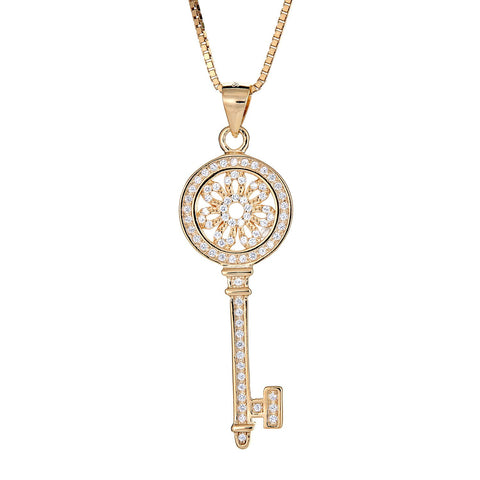 14K Gold Plated on .925 Sterling Silver Dainty Flower Key Micro Pave Pendant with Chain (6 grams) - Betterjewelry
