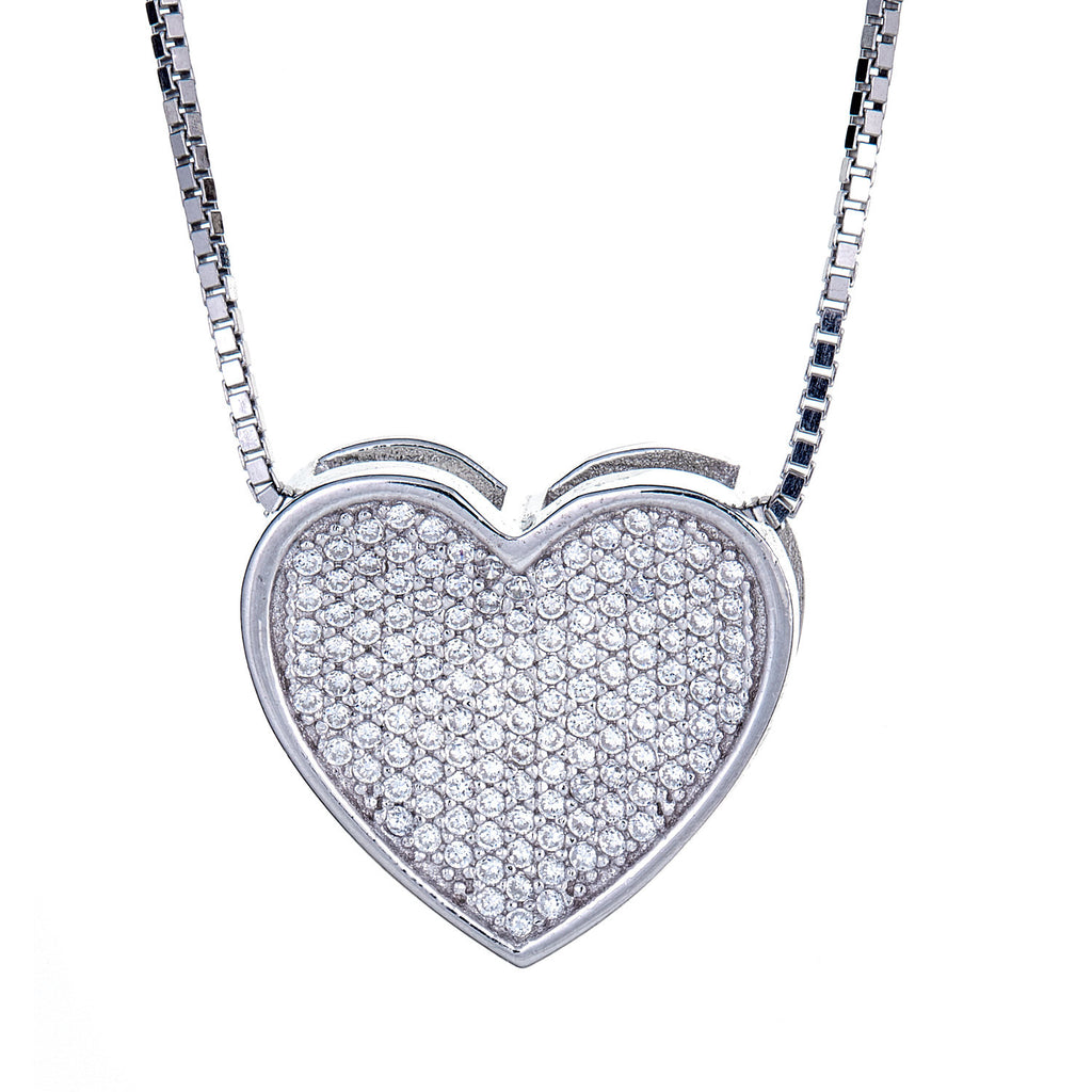.925 Sterling Silver Valentine Micro Pave Heart Pendant with Chain (7 grams)