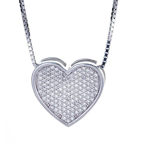 .925 Sterling Silver Valentine Micro Pave Heart Pendant with Chain (7 grams) - Betterjewelry