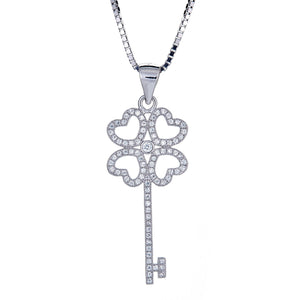 925 Sterling Silver Lucky Key Micro Pave Pendant with Chain (3.5 grams) - Betterjewelry