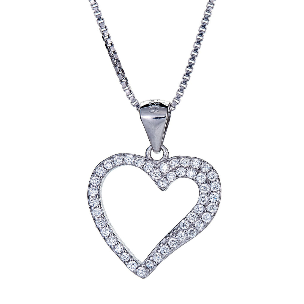 925 Sterling Silver Open Heart Pendant with Chain (3.5 grams) - Betterjewelry