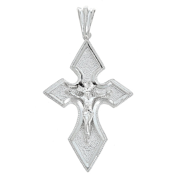 925 Sterling Silver Fuller Shaped Crucifix Pendant -Made in USA (11 grams) - Betterjewelry