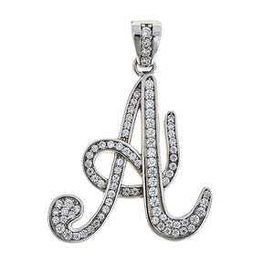 925 Sterling Silver Small Script Letter Initial Pendant (3 grams) - Betterjewelry