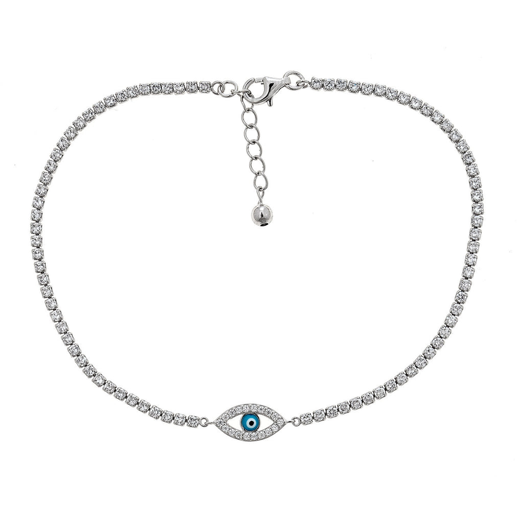 Women's .925 Sterling Silver Blue Evil Eye Anklet (5 grams) - Betterjewelry
