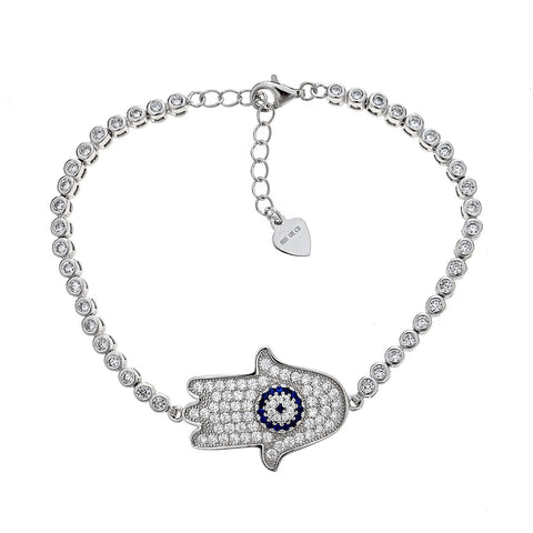 Women's .925 Sterling Silver Hamsa Hand with Evil Eye Tennis Bracelet (9 grams)