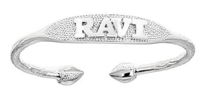 Custom NAME PLATE Adult West Indian Bangle .925 Sterling Silver (64 grams) - Betterjewelry