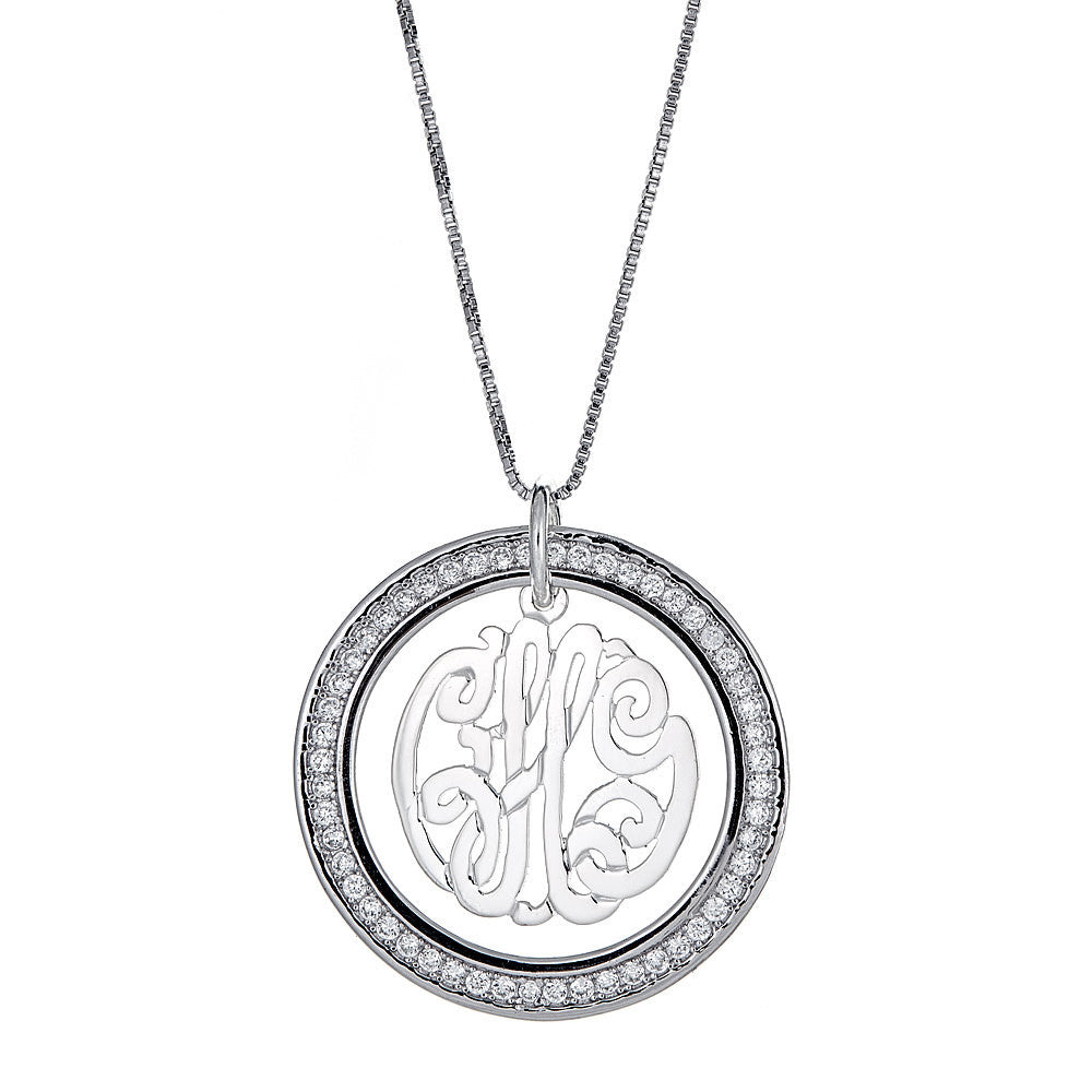CZ Halo Script Three-Letter .925 Sterling Silver Monogram Pendant with Chain (6 grams)