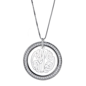 CZ Halo Script Three-Letter .925 Sterling Silver Monogram Pendant with Chain (6 grams) - Betterjewelry