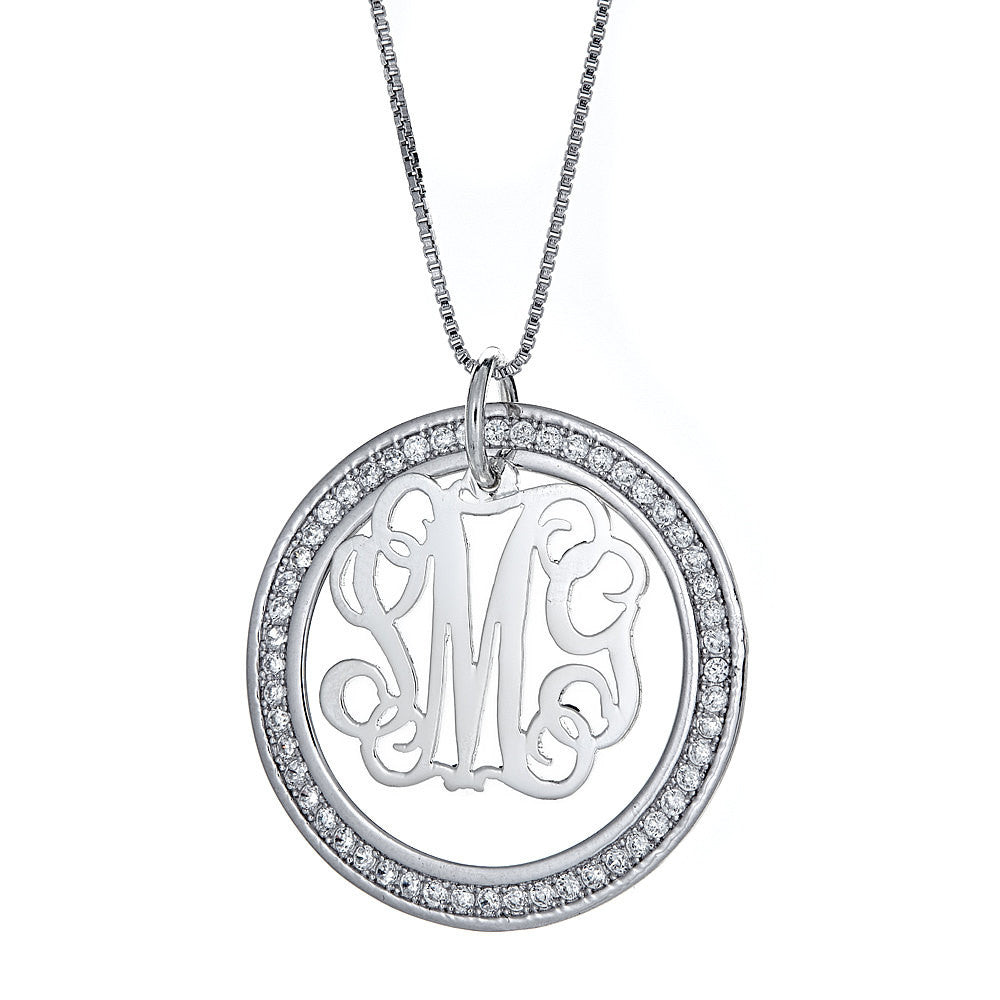 CZ Halo Script Single Letter .925 Sterling Silver Monogram Pendant with Chain (6 grams)