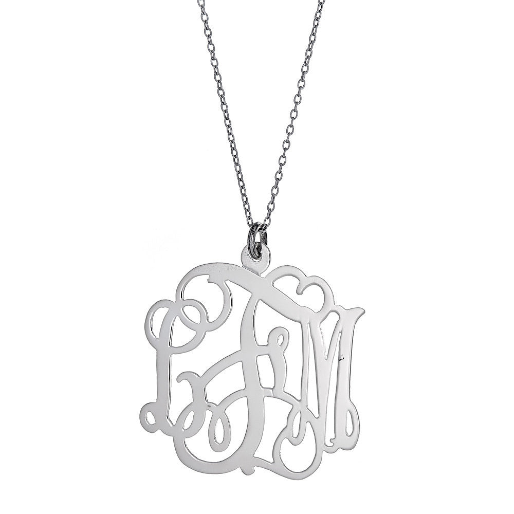 Fancy Letter MEDIUM .925 Sterling Silver Three-Letter Monogram Pendant with Chain (Made in USA)