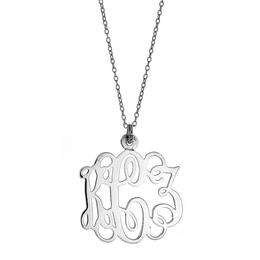 Fancy Letter SMALL Three-Letter .925 Sterling Silver Monogram Pendant with Chain (Made in USA)