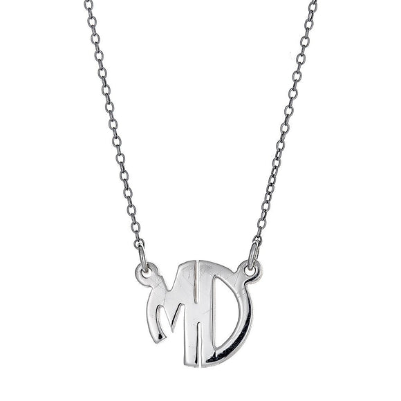 Modern .925 Sterling Silver Rounded Double-Letter Monogram Pendant with Chain (MADE IN USA) - Betterjewelry