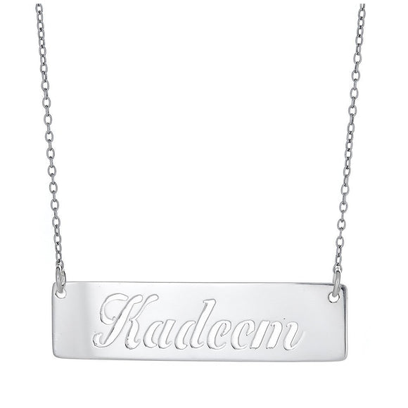 Personalized .925 Sterling Silver Bar Open Script Name Necklace (Made in USA) - Betterjewelry