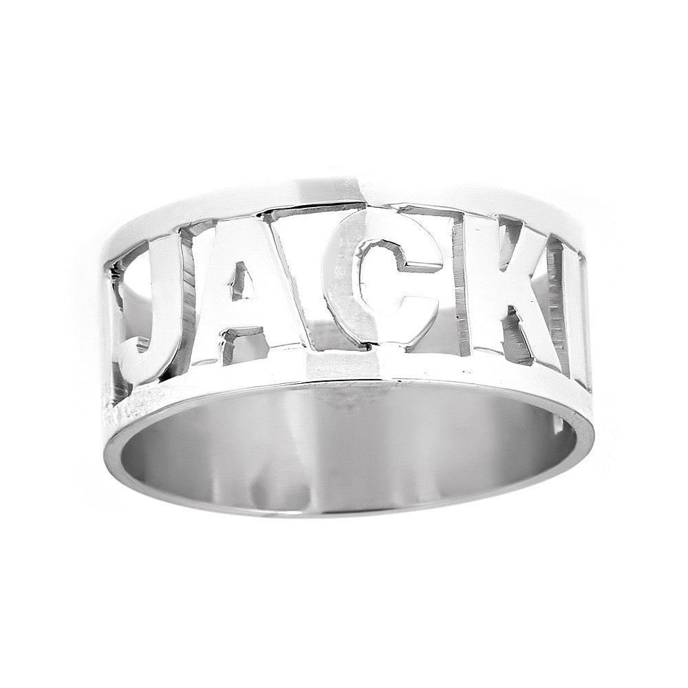 Personalized .925 Sterling Silver Open Block Letter Name Ring, 3.5 grams, MADE IN USA - Betterjewelry