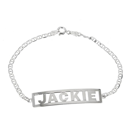 Personalized .925 Sterling Silver Open Block Letter Name Plate Bracelet, 4 grams, MADE IN USA - Betterjewelry