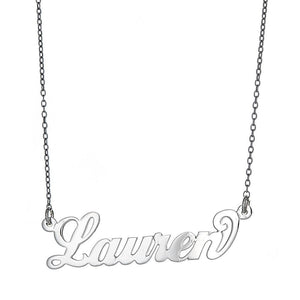 "Personalized .925 Sterling Silver ""Carrie"" Script Name Plate Necklace, 3 grams (Made in USA) - Betterjewelry"